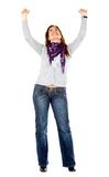 Woman with arms up Stock Image