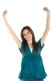 Woman with arms up Stock Images