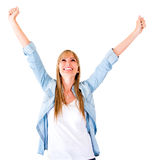 Woman with arms up Stock Photos