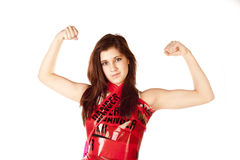 Woman arms up danger Stock Photos