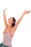 Woman with arms wide open Stock Image