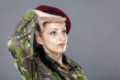 Woman army soldier saluting. Isolated on gray background Stock Photos