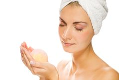 Woman with aroma bath ball Royalty Free Stock Photo
