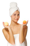 Woman with aroma bath ball Stock Image
