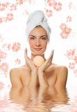 Woman with aroma bath ball Stock Photos