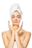 Woman with aroma bath ball Stock Photography