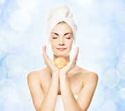 Woman with aroma bath ball stock photos