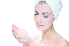 Woman with aroma bath ball Royalty Free Stock Image