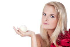 Woman with an aroma bath ball stock image