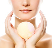Woman with aroma soap. Beautiful young woman with aroma soap Stock Photos