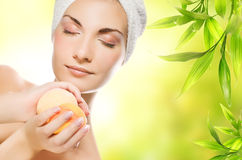 Woman with aroma soap Stock Image