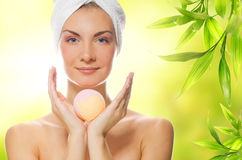 Woman with aroma soap Stock Photos