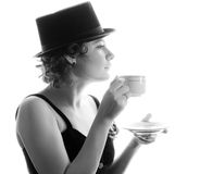 Woman with an aromatic coffee Stock Images