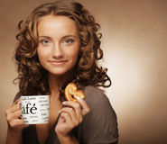Woman with an aromatic coffee in hands Stock Photo