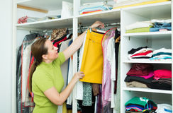 Woman arranging clothes at wardrobe. Orderly brunette woman arranging clothes at wardrobe indoor Stock Image