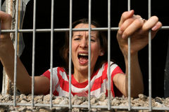 Woman arrested stock photo