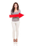 Woman arrow pointing right Stock Images