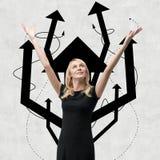Woman with arrow tree over head Stock Image