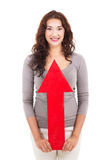 Woman arrow up Stock Photography