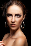 Woman with art fashion make up on black background Royalty Free Stock Photo