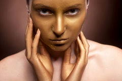Woman with art fashion make up on face Royalty Free Stock Photos