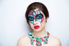 Woman art make up blue red stock image