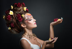 Woman in art makeup Royalty Free Stock Image