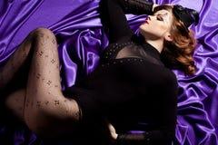 Woman with art visage - burlesque Stock Photography