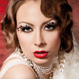 Woman with art visage - burlesque Stock Photos