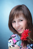 Woman with artificial flower stock images