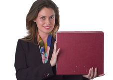 Woman with artificial smile holding papers Stock Images