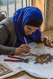 Woman artisan make artistic mosaics Royalty Free Stock Photography