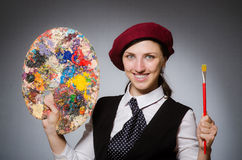 The woman artist in art concept Royalty Free Stock Photography