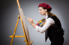 The woman artist in art concept Stock Photography