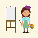 Woman artist and easel. Stock Photography