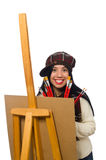 The woman artist isolated on the white Stock Photography