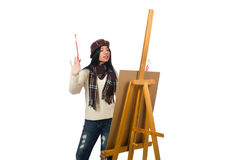 The woman artist isolated on the white Stock Photos