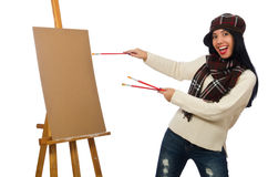 The woman artist isolated on the white Stock Images