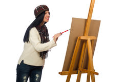 Woman artist isolated on the white Royalty Free Stock Image