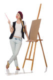 The woman artist isolated on the white Royalty Free Stock Images