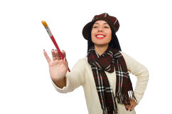 The woman artist isolated on the white Royalty Free Stock Photography