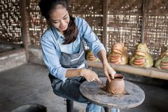 Woman artist making pottery Royalty Free Stock Photography