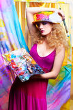 Woman artist painting Stock Photo