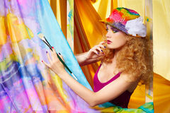 Woman  artist painting Stock Photography