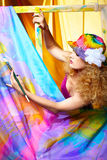 Woman  artist painting Stock Images