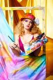 Woman artist painting Stock Image