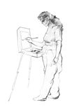 Woman artist paints an etude sketch illustration. Pencil sketch illustration of a woman artist paints an etude on her sketchbook royalty free illustration