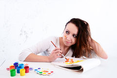 Woman artist in search of inspiration Stock Images