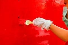 Woman artist use brush Stock Photo