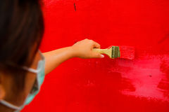 Woman artist use brush Royalty Free Stock Image
